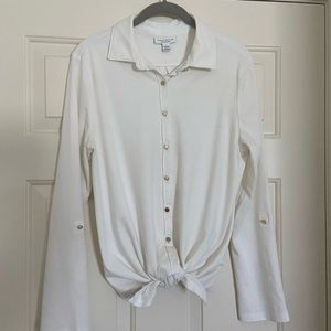Charter Club soft tie-front blouse.